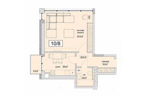 ЖК Grand Village: планування 1-кімнатної квартири 42.5 м²