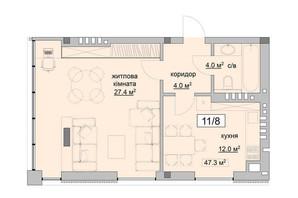 ЖК Grand Village: планування 1-кімнатної квартири 47.3 м²
