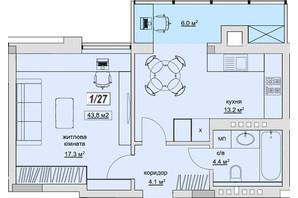 ЖК Grand Village: планування 1-кімнатної квартири 43.8 м²