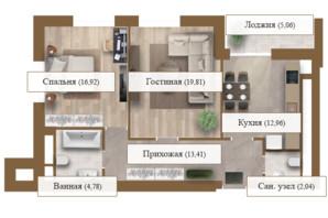 ЖК Grand deLuxe на Садовій: планування 2-кімнатної квартири 74.98 м²
