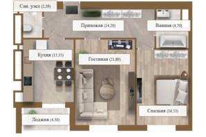 ЖК Grand deLuxe на Садовій: планування 2-кімнатної квартири 77.26 м²