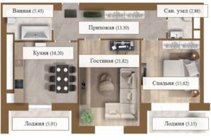 ЖК Grand deLuxe на Садовій: планування 2-кімнатної квартири 85.39 м²