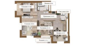 ЖК Grand deLuxe на Садовій: планування 3-кімнатної квартири 102.33 м²