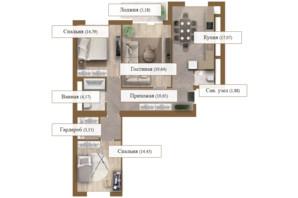 ЖК Grand deLuxe на Садовой: планировка 3-комнатной квартиры 100.36 м²