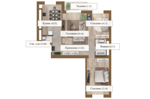 ЖК Grand deLuxe на Садовой: планировка 3-комнатной квартиры 100.97 м²