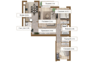ЖК Grand deLuxe на Садовой: планировка 3-комнатной квартиры 103.3 м²