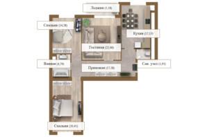 ЖК Grand deLuxe на Садовой: планировка 3-комнатной квартиры 103.47 м²