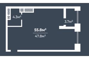 ЖК Грані: планування 1-кімнатної квартири 55.8 м²