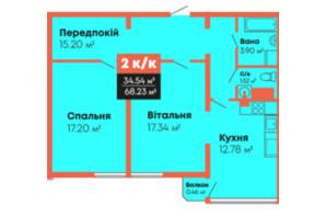 ЖК Гражданский посад: планировка 2-комнатной квартиры 68.23 м²
