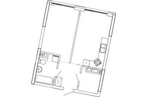 ЖК Great (Грейт): планування 1-кімнатної квартири 47.42 м²