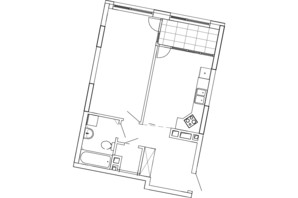 ЖК Great (Грейт): планування 1-кімнатної квартири 54.19 м²