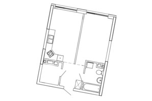 ЖК Great (Грейт): планування 1-кімнатної квартири 47.07 м²