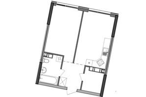 ЖК Great: планування 1-кімнатної квартири 47.87 м²