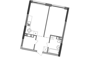 ЖК Great: планування 1-кімнатної квартири 47.59 м²