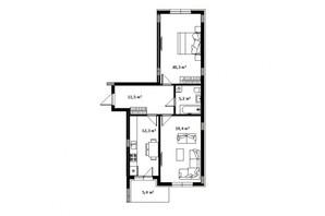 ЖК Green Land: планировка 2-комнатной квартиры 68 м²