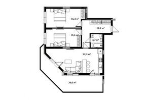 ЖК Green Land: планировка 2-комнатной квартиры 79 м²