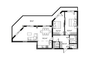 ЖК Green Land: планировка 2-комнатной квартиры 95.7 м²