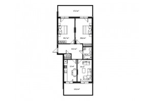 ЖК Green Land: планировка 3-комнатной квартиры 97 м²