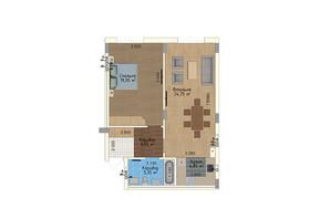 ЖК Green Land: планування 1-кімнатної квартири 61.2 м²