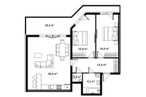 ЖК Green Land: планировка 2-комнатной квартиры 96.9 м²