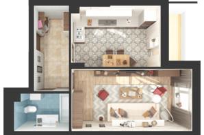 ЖК Green Side: планування 1-кімнатної квартири 47.3 м²