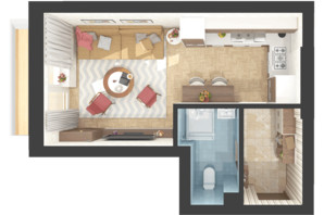 ЖК Green Side: планировка 1-комнатной квартиры 30.6 м²