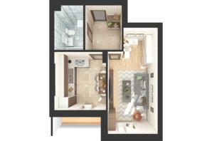 ЖК Green Side: планировка 1-комнатной квартиры 39.4 м²