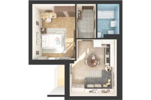 ЖК Green Side: планировка 1-комнатной квартиры 42.2 м²
