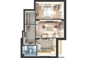 ЖК Green Side: планировка 2-комнатной квартиры 57.1 м²