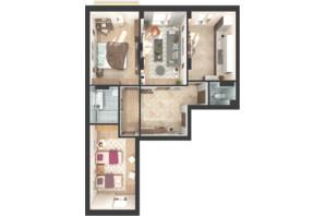 ЖК Green Side: планировка 3-комнатной квартиры 79.8 м²