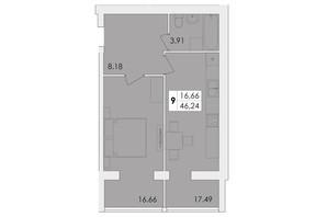 ЖК Green Village: планировка 1-комнатной квартиры 46.24 м²