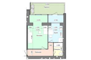 ЖК GreenЛандія: планування 1-кімнатної квартири 46.52 м²