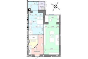 ЖК GreenЛандія: планування 1-кімнатної квартири 46.88 м²