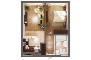 ЖК Greenville Park Kyiv: планировка 1-комнатной квартиры 54.8 м²