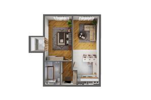 ЖК Greenville Park Kyiv: планировка 1-комнатной квартиры 61.6 м²