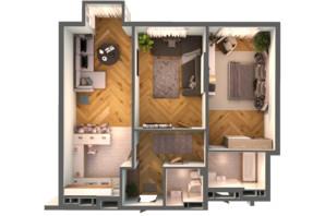 ЖК Greenville Park Kyiv: планировка 2-комнатной квартиры 86.3 м²