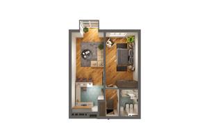 ЖК Greenville Park Kyiv: планировка 1-комнатной квартиры 61 м²