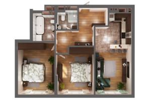 ЖК Greenville Park Kyiv: планировка 2-комнатной квартиры 77 м²