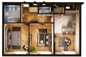 ЖК Greenville Park Kyiv: планировка 2-комнатной квартиры 68.1 м²