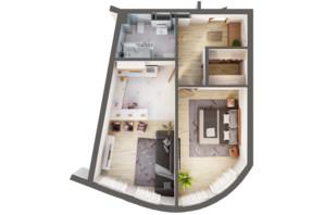 ЖК Greenville Park Kyiv: планировка 1-комнатной квартиры 53.9 м²