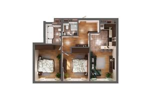 ЖК Greenville Park Kyiv: планировка 2-комнатной квартиры 74.1 м²