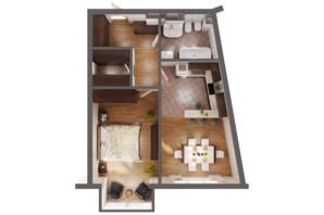 ЖК Greenville Park Kyiv: планировка 1-комнатной квартиры 51.9 м²