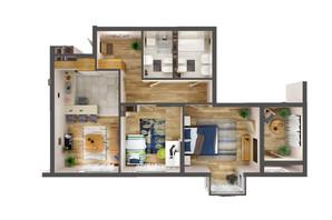 ЖК Greenville Park Kyiv: планировка 2-комнатной квартиры 80.8 м²