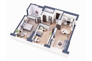 ЖК Greenville Park Kyiv: планировка 2-комнатной квартиры 75.9 м²