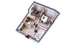 ЖК Greenville Park Kyiv: планировка 1-комнатной квартиры 54 м²