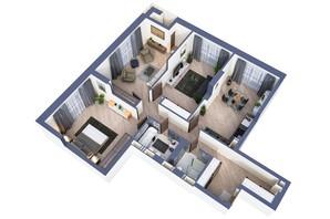 ЖК Greenville Park Kyiv: планировка 3-комнатной квартиры 107.6 м²