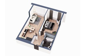 ЖК Greenville Park Kyiv: планировка 1-комнатной квартиры 56.4 м²
