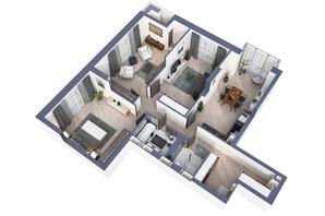 ЖК Greenville Park Kyiv: планировка 3-комнатной квартиры 109.8 м²