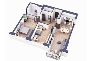 ЖК Greenville Park Kyiv: планировка 2-комнатной квартиры 78.1 м²