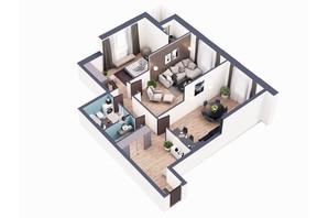 ЖК Greenville Park Kyiv: планировка 2-комнатной квартиры 97.02 м²